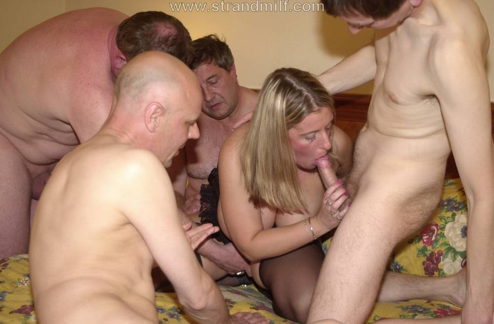 Huge tits milf creampie party