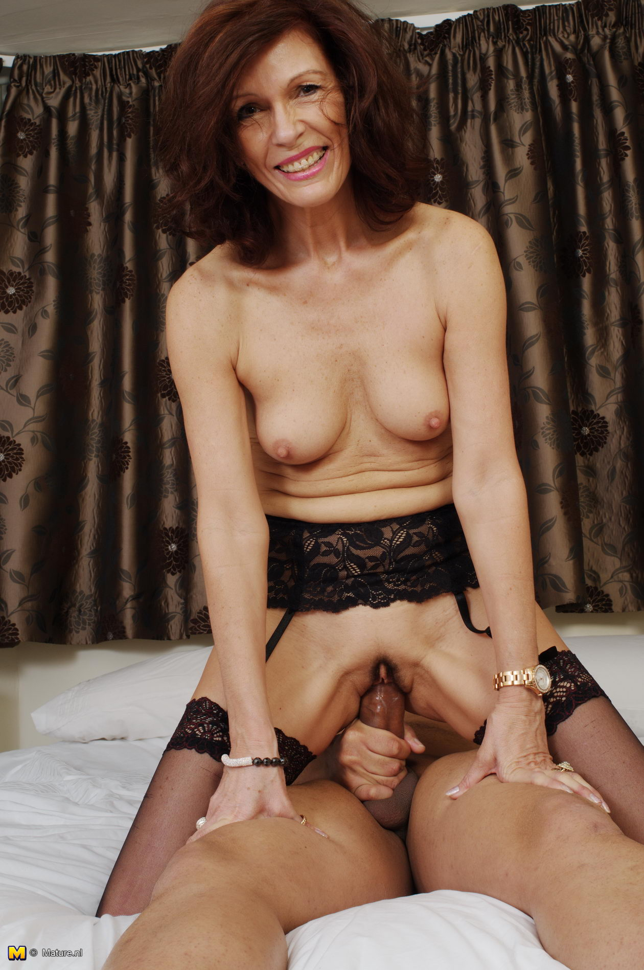 image British slut in stockings sucks amp rides an older guy