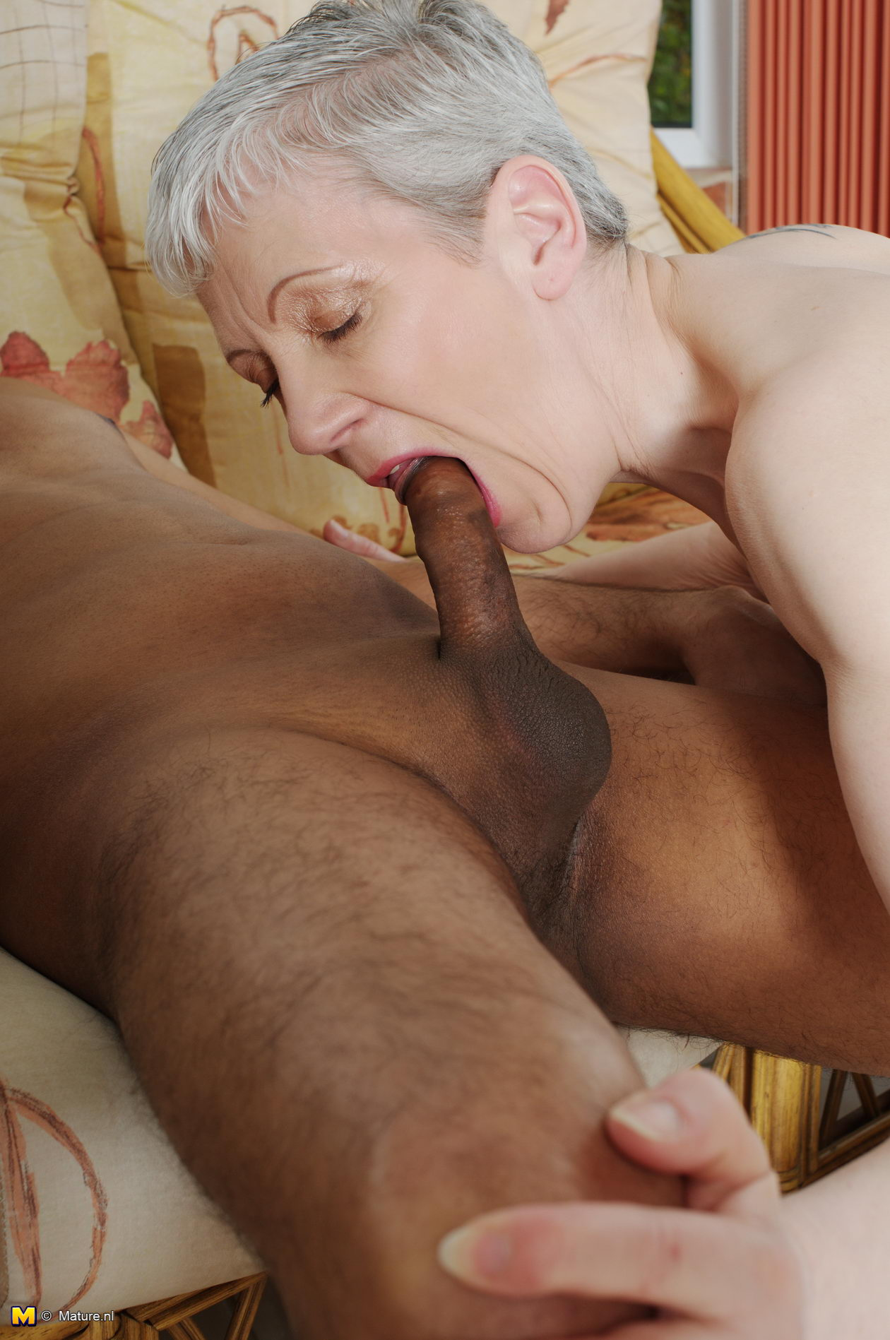 old lady with black cock